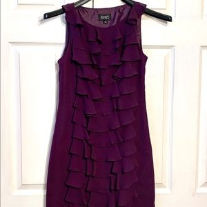 Adrianna Papell lined Eggplant Chiffon Dress 4